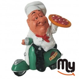 Pizza chef on a green Vespa...