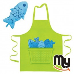 Set of kitchen apron and...
