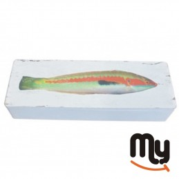 Wooden box with fish print