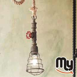 Suspension Chandelier - Vintage bronzed metal faucet design