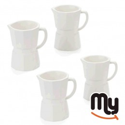 Set of 4 cups - Espresso Moka design in white ceramic