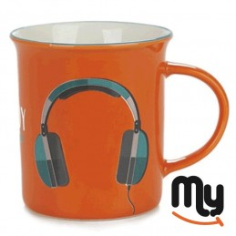 Mug for breakfast - with headphones design for music