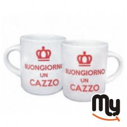 """PIU' FORTY - Set of 2 cups """"Buon Giorno Un Cazzo!"""""""